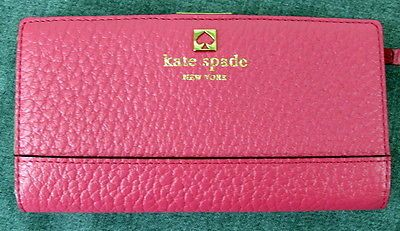 NWT Kate Spade Southport Avenue Stacey Wallet In Bright Pink $198 WLRU1394 SLIM