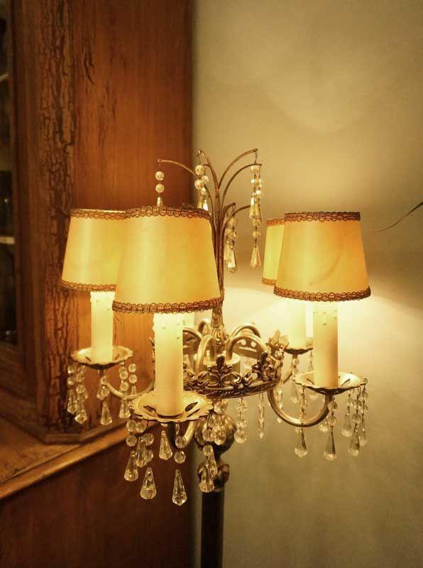 Antike Stehleuchte mit Glassteinen Antike Lampen im EYECATCHER