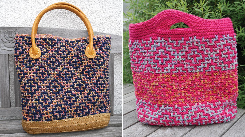 Beautiful Gestrickte Taschen Frei Muster Adornment - Decke Stricken ...