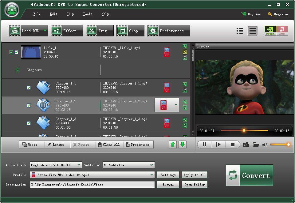 4videosoft dvd to sansa converter can convert your dvd