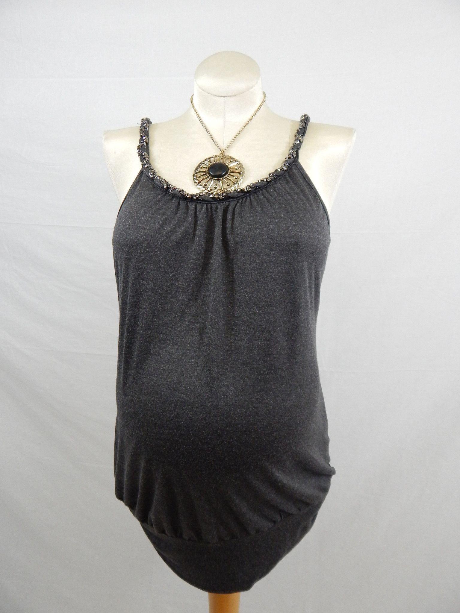 Grey Sleeveless Jeweled Top-Large