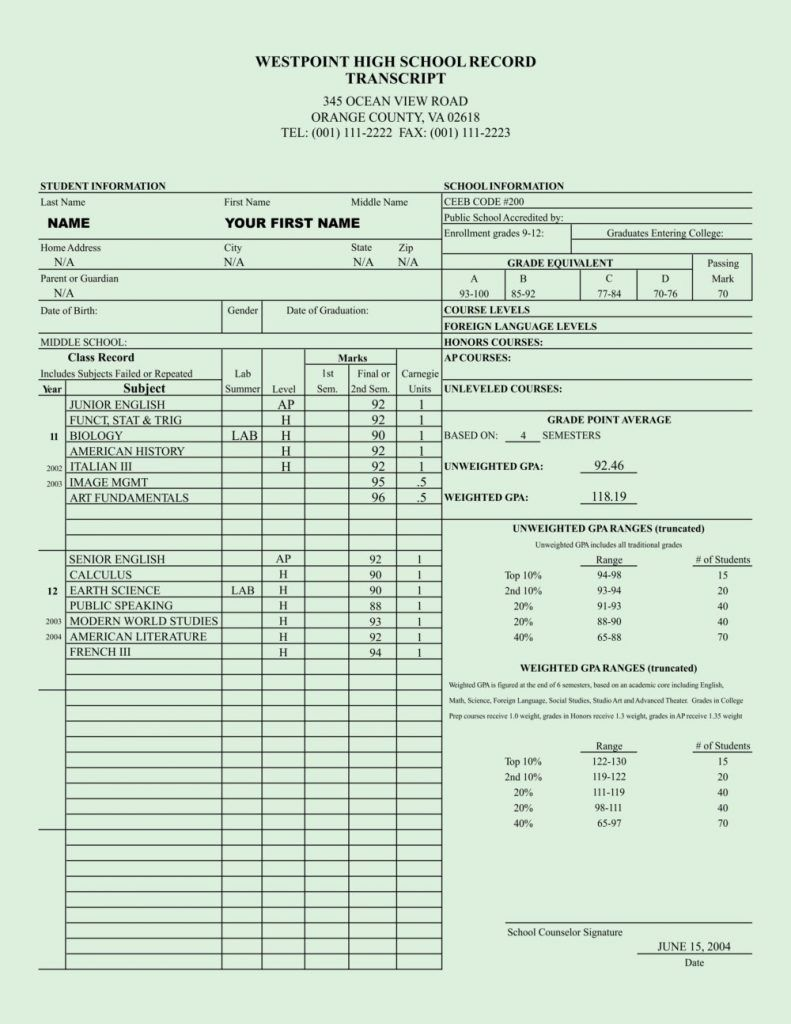 33+ Fake Transcripts College Templates Collection Free