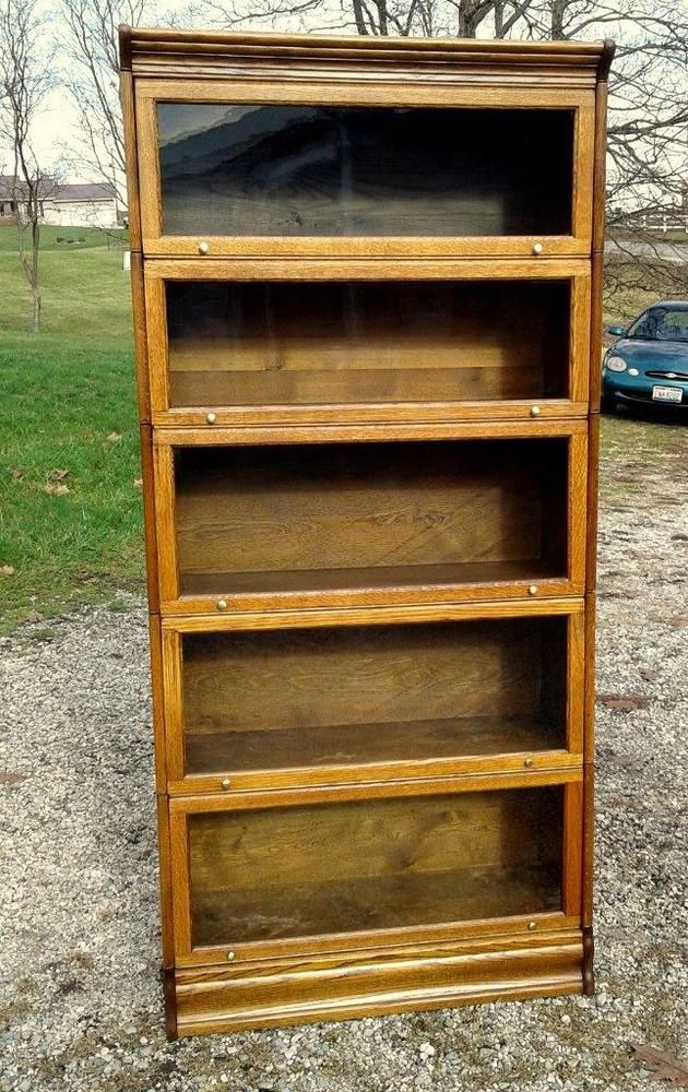 Antique Quarter Sawn Oak Lundstrom 5 Section Barrister Bookcase