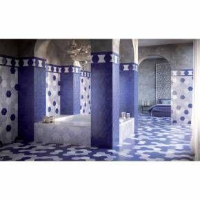 Tomette carrelage hexagonal bleu cobalt style artisanal HE0811004   Carrelage hexagonal, Tuile ...