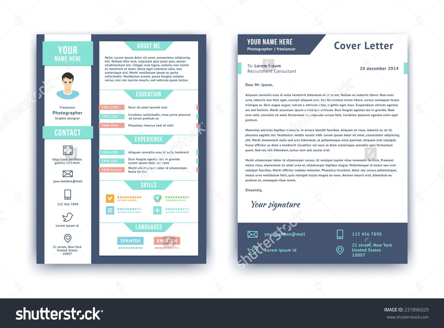 Resume And Cover Letter Or Cv Vector Design Template On Two Pages