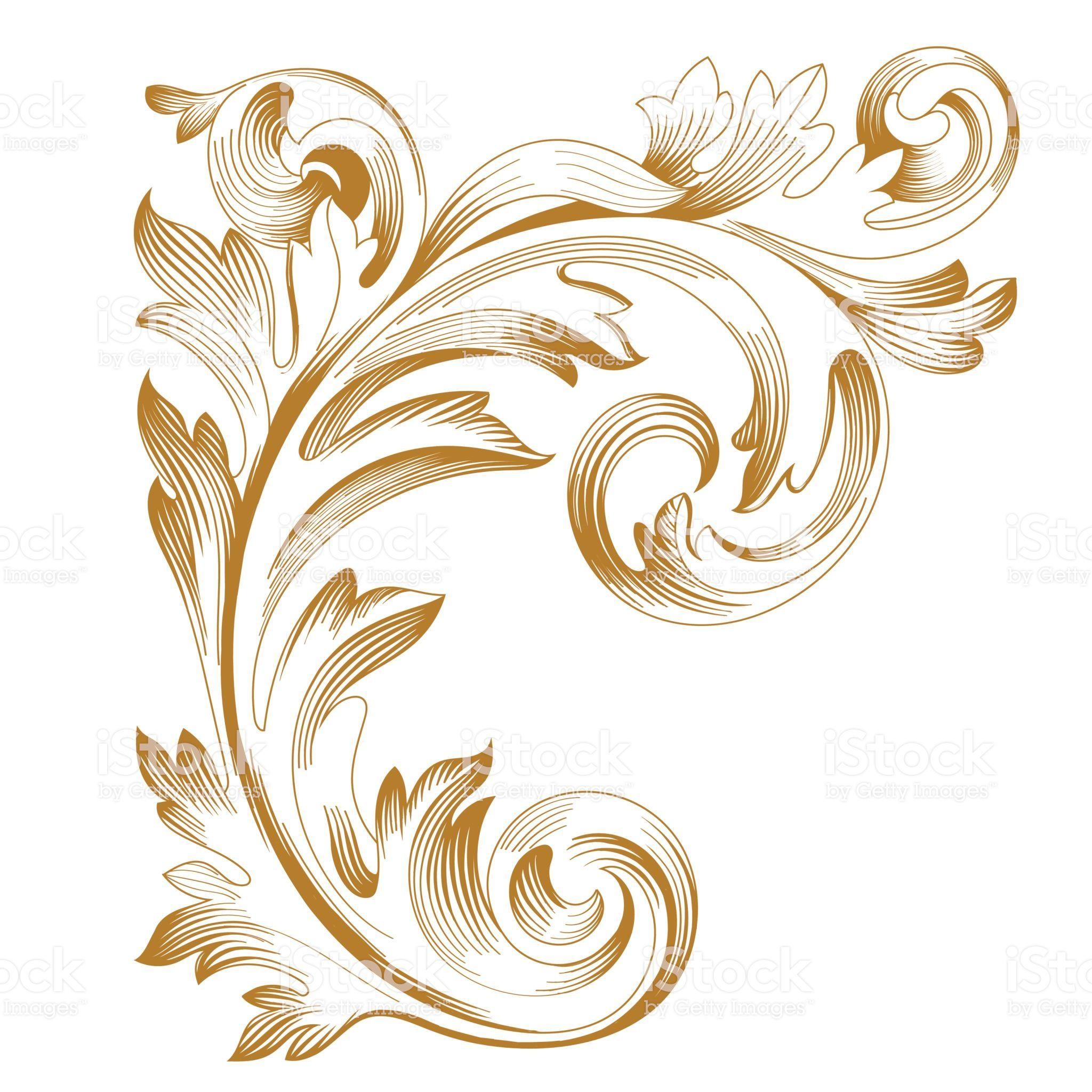 Vintage Pattern Golden Floral Ornament Baroque Ornament Retro Pattern Free Vector Art