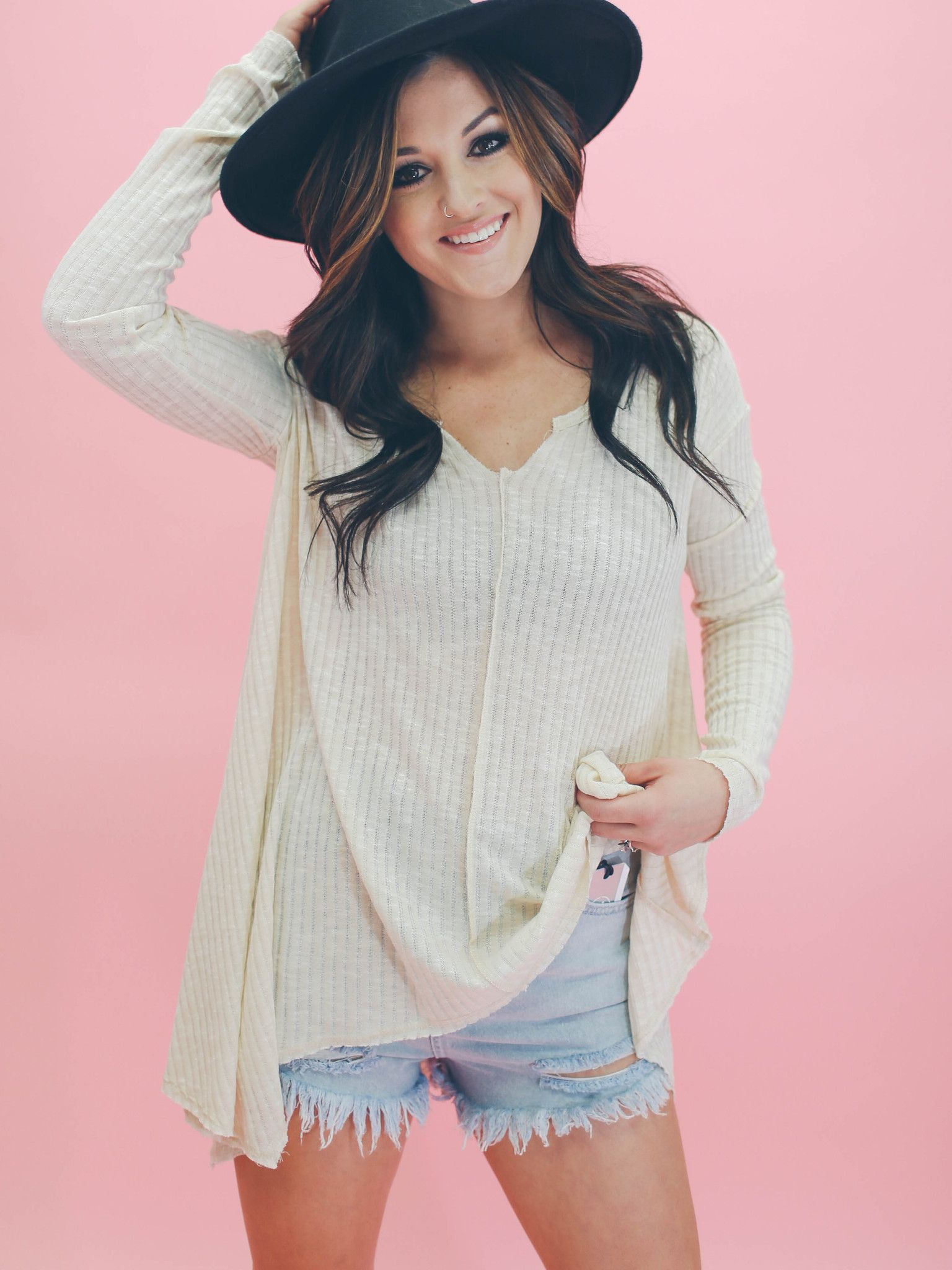 Ribbed Flowy Top - Sand