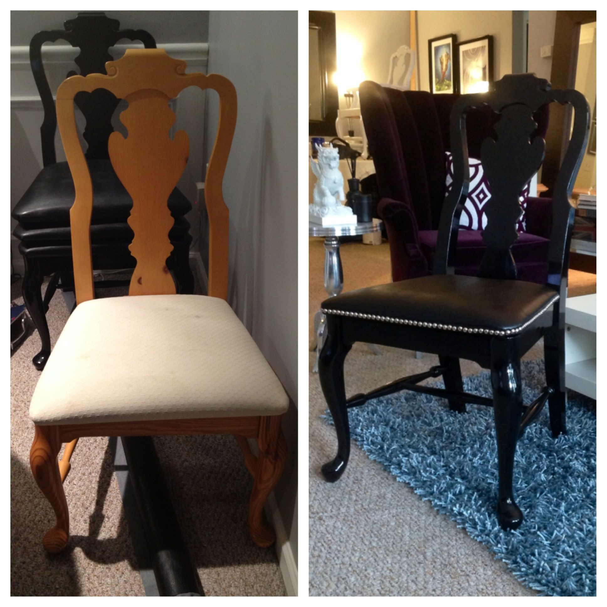 Redoing Dining Room Chairs: Dining Chair Redo, Modern Update #nailhead