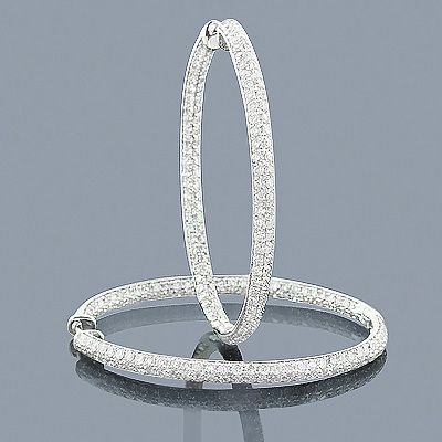 Large Hoops 14k Inside Out Diamond Hoop Earrings 3 75