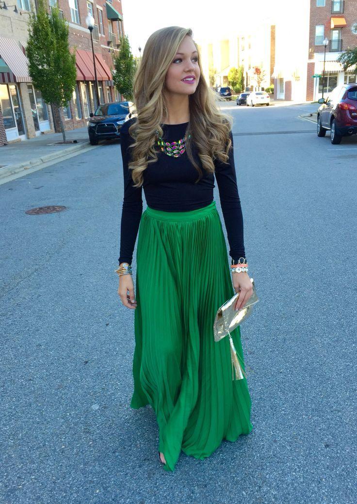 18129d55cc Just a Pretty Style: Street style high waist pleated green maxi skirt
