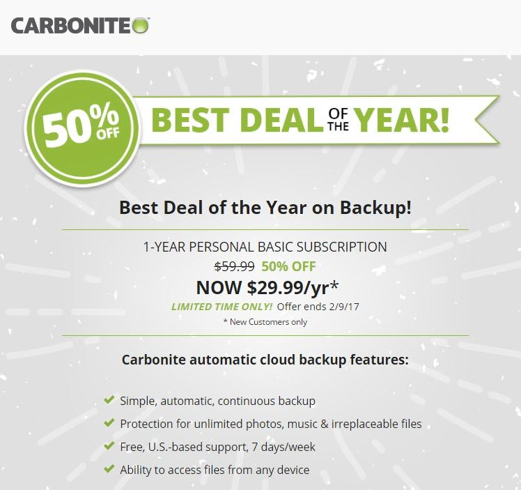 Carbonite's best deal ever extended for two weeks @ http://bit.ly/2kXzw4c. The best deal on cloud backup - 1 year of Carbonite Basic is now half off! Buy Now!