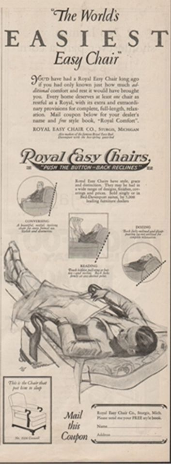 1925 Royal Easy Chair Co. Sturgis Michigan-Antique Recliner Furniture Chair Ad  sc 1 st  Pinterest & Artsu0026Crafts Oak Push Button Morris Original Royal Chair Co Black ... islam-shia.org