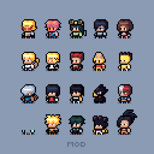 Class 1 A My Hero Academia Pixel Art In 2020 Anime Pixel Art Pixel Art Characters Pixel Art