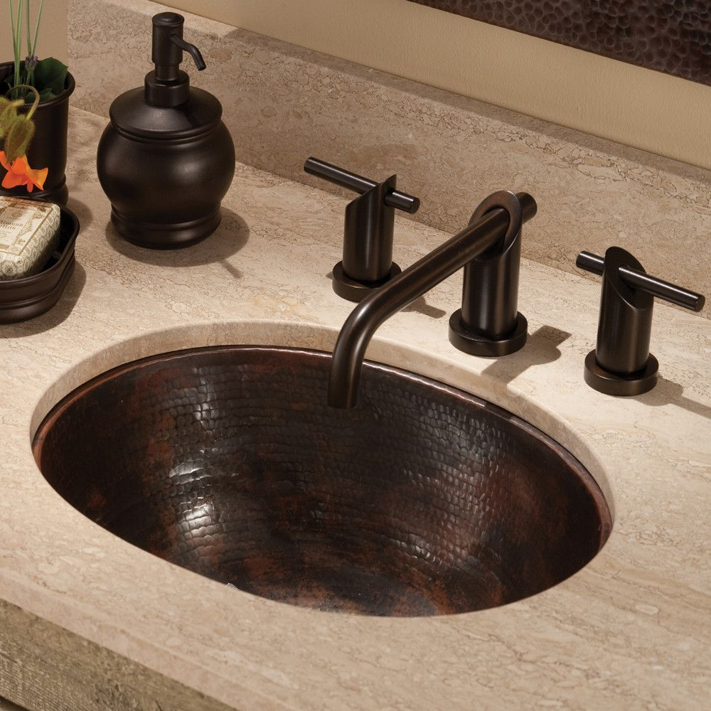 With A Generous Deep Basin The Cameo Oval Copper Bathroom Sink Can Be Installed As An Undermount Or Drop In All While Showing Its Rous Hammered