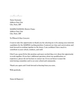 FollowUp Thank You Letter for a Teaching Interview Teaching