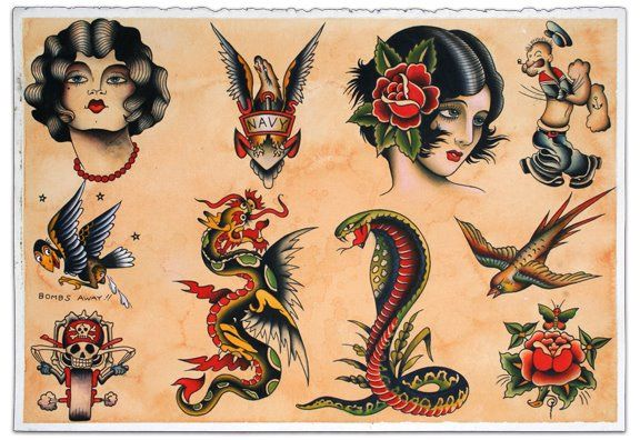 Sailor Jerry Tattoo Flash Reproduction