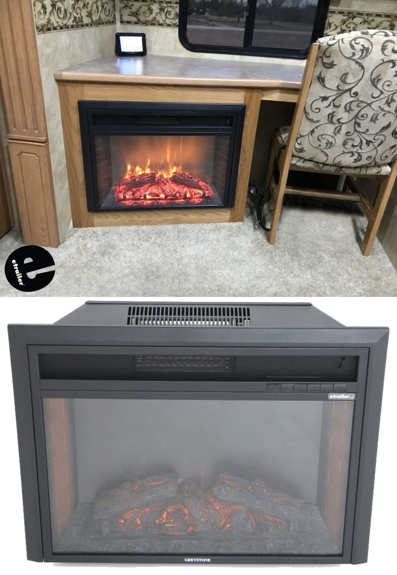 Greystone 26 Electric Fireplace With Logs Recessed Mount