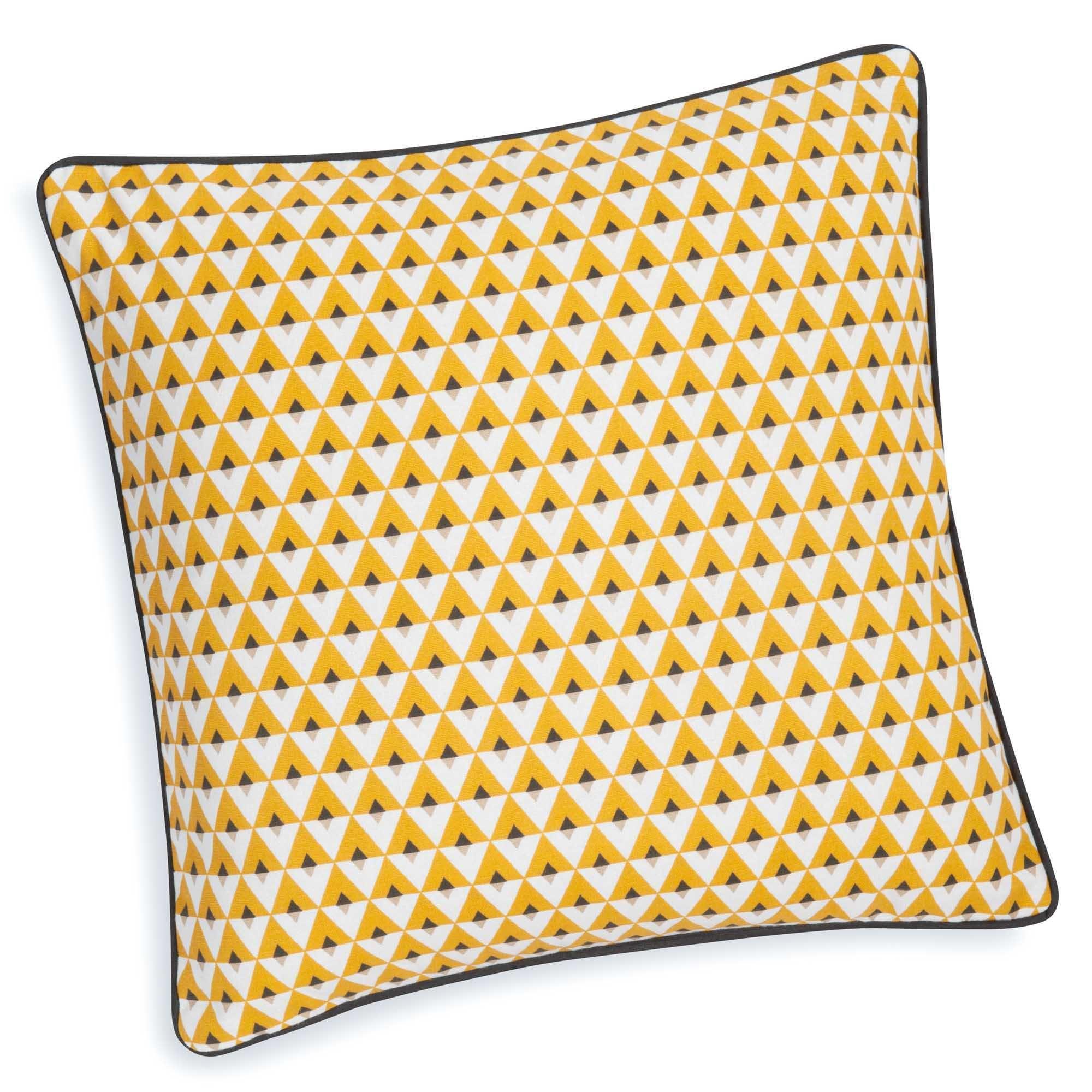 housse de coussin en coton jaune 40 x 40 cm hilton | déco appart