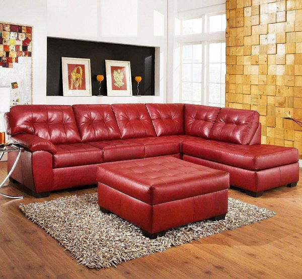 Funk N Unique Decor With A Red Sectional Leather Couch Red