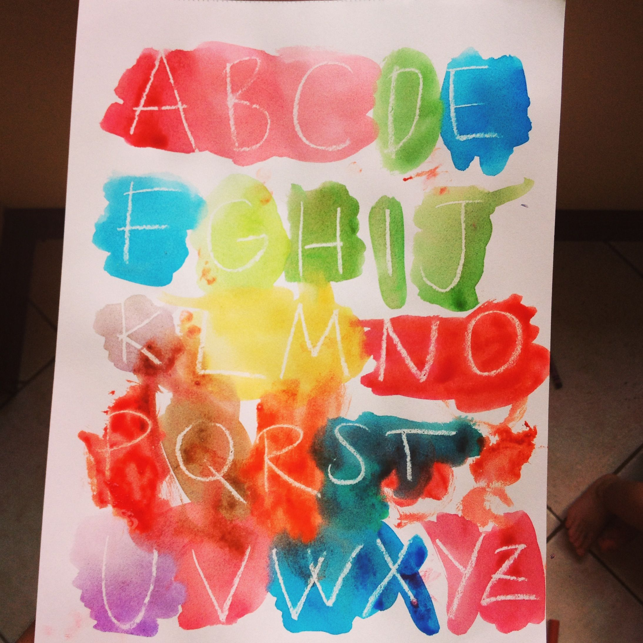 White Crayon And Watercolor Alphabet Activity