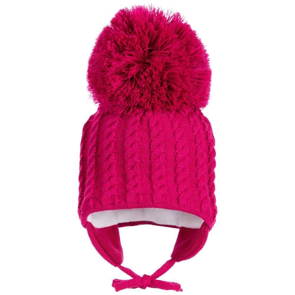679ed23b594 Satila of Sweden - Girls Fuchsia Knitted Giant Pom-Pom Hat