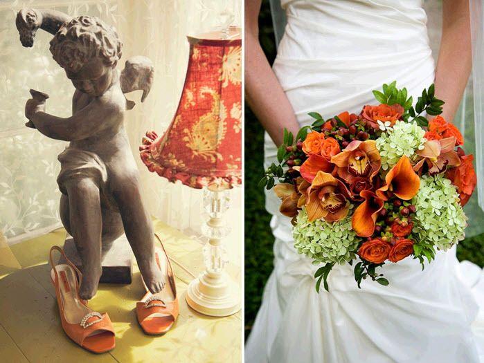 Burnt Orange Wedding Bouquets Orange Maroon Green Ivory Fall