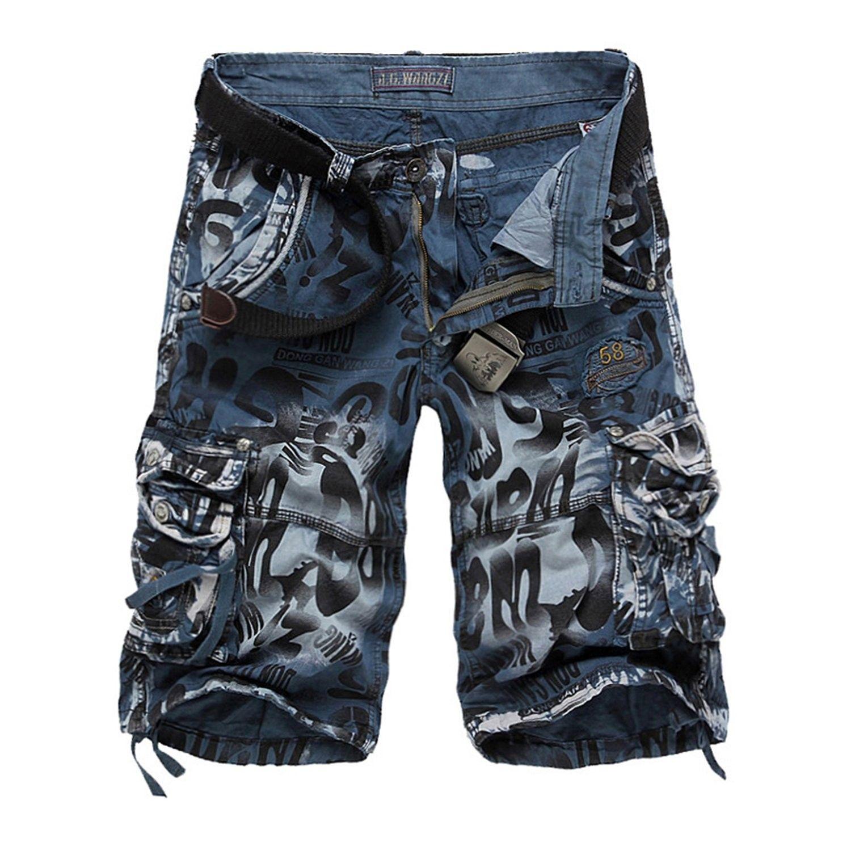 Men s Camo Cargo Shorts Cotton - Blue Camouflage 2292 - CU17YQW5DTO ... d564470635c