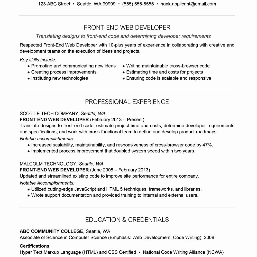 23 Entry Level Front End Developer Resume in 2020 Job