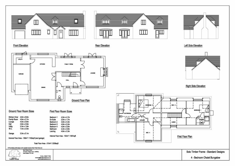 4 bedroom self build timber frame chalet bungalow design for Chalet bungalow designs