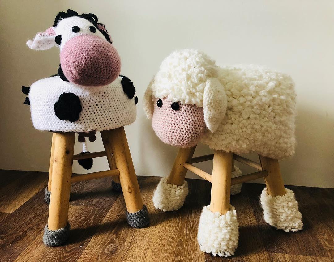 Dierenkrukken Haken Koe Schaap Krukken Crochet Kraamcadeau
