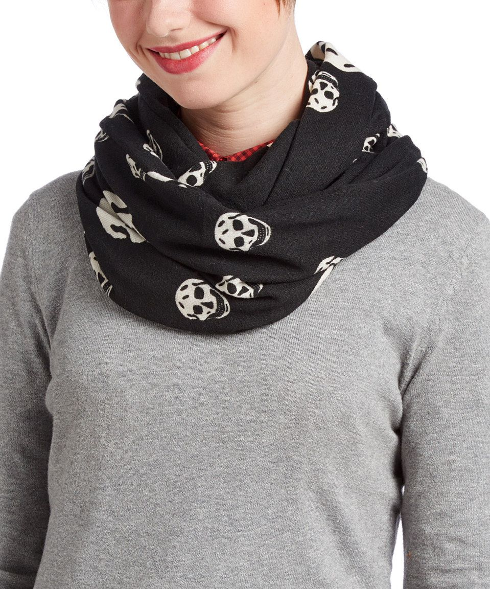 Look at this #zulilyfind! Black & White Skull Infinity Scarf by Rapti #zulilyfinds
