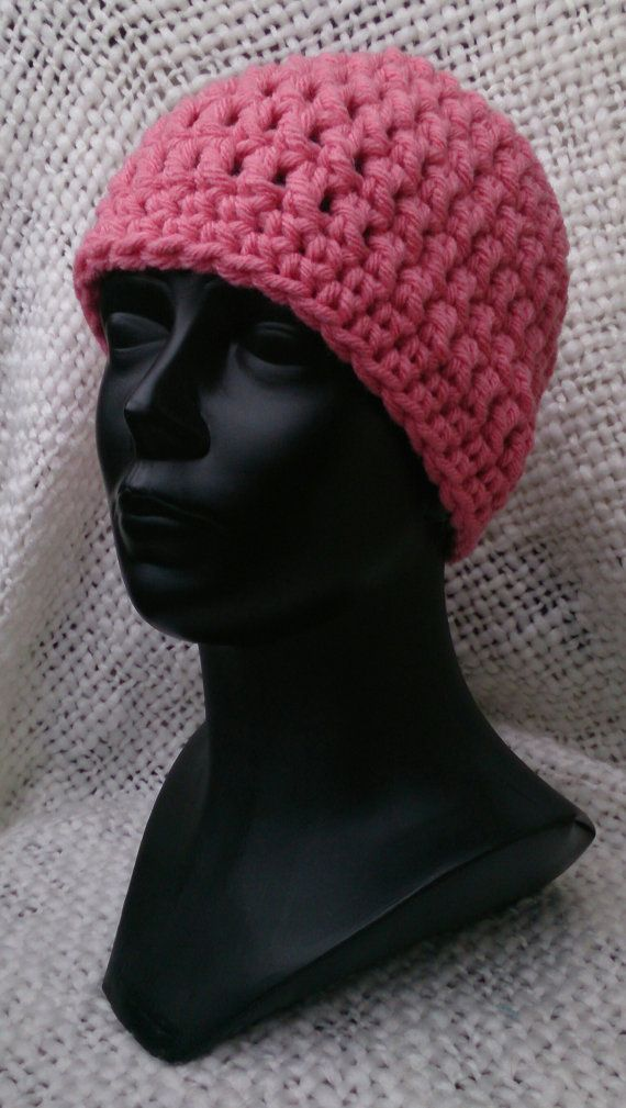 Crocheted warm hat. Pink. by MadeByKirsti on Etsy