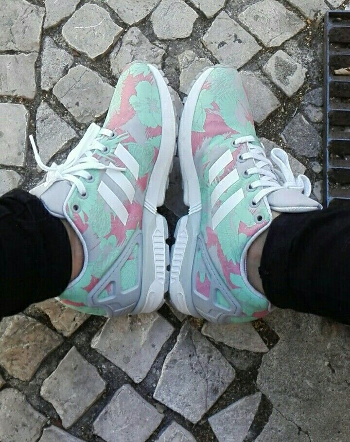 free shipping 588af 4ae24 Adidas zx flux grey green floral | shoes