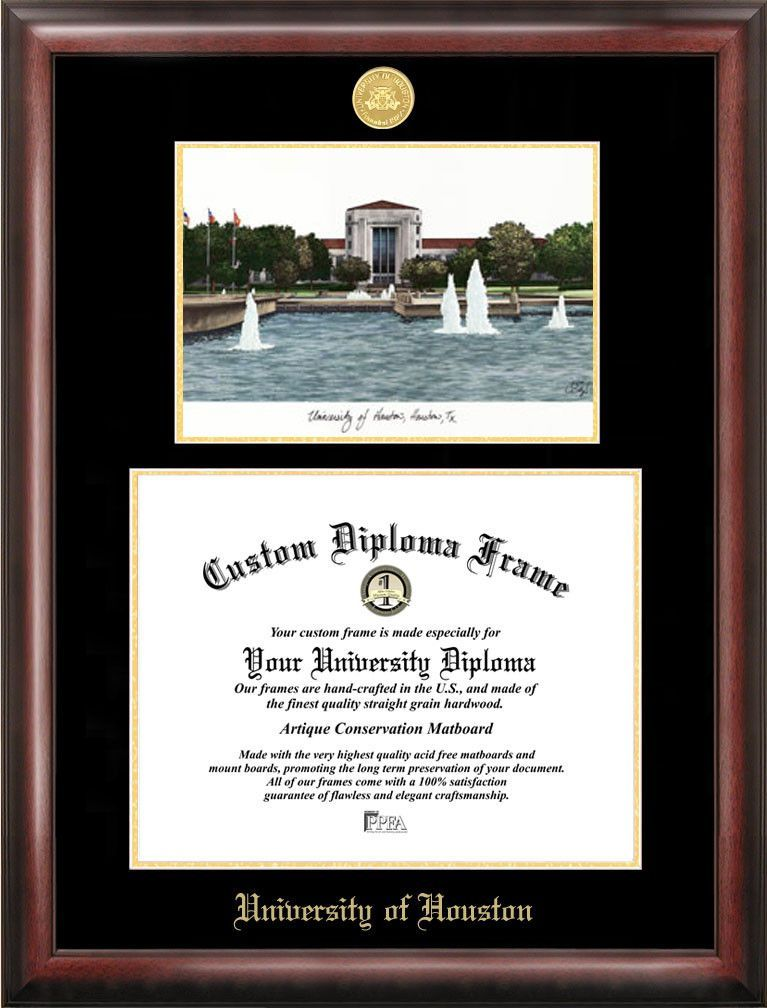 Stephen F Austin Gold embossed diploma frame with Campus Images ...