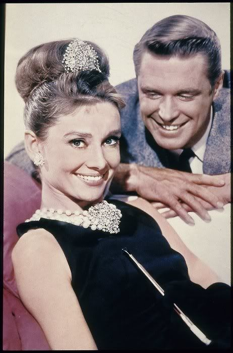 """Audrey Hepburn and George Peppard in """"Breakfast at Tiffany's"""" 1961:"""