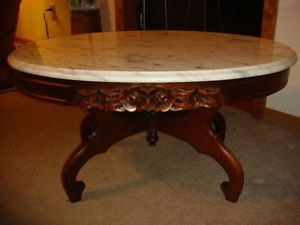 Antique Mahogany Coffee Table With Italian Marble Top
