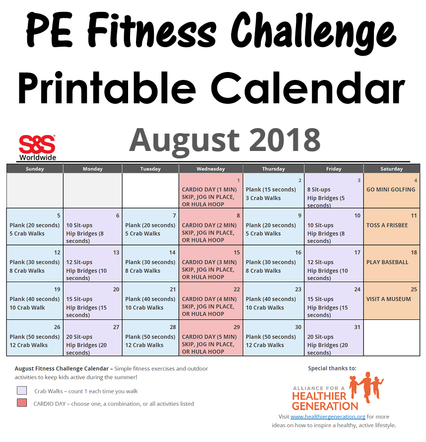 August Printable Fitness Challenge Calendar S S Blog Exercise For Kids Physical Education Lessons Workout Challenge