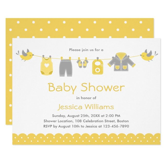 Cute Yellow Gray Clothes   Neutral Baby Shower Invitation is part of Yellow Clothes Gray - Cute Yellow Gray Clothes   Gender Neutral Baby Shower Invitations   Yellow Gray White