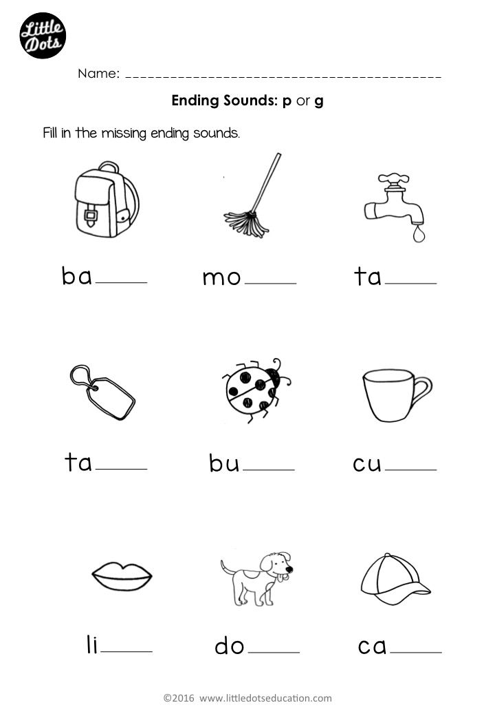 Free Preschool Phonics Ending Sounds P And G Worksheet For Preschool Or Kindergarten Class Kindergarten Phonics Worksheets Preschool Phonics Phonics Worksheets