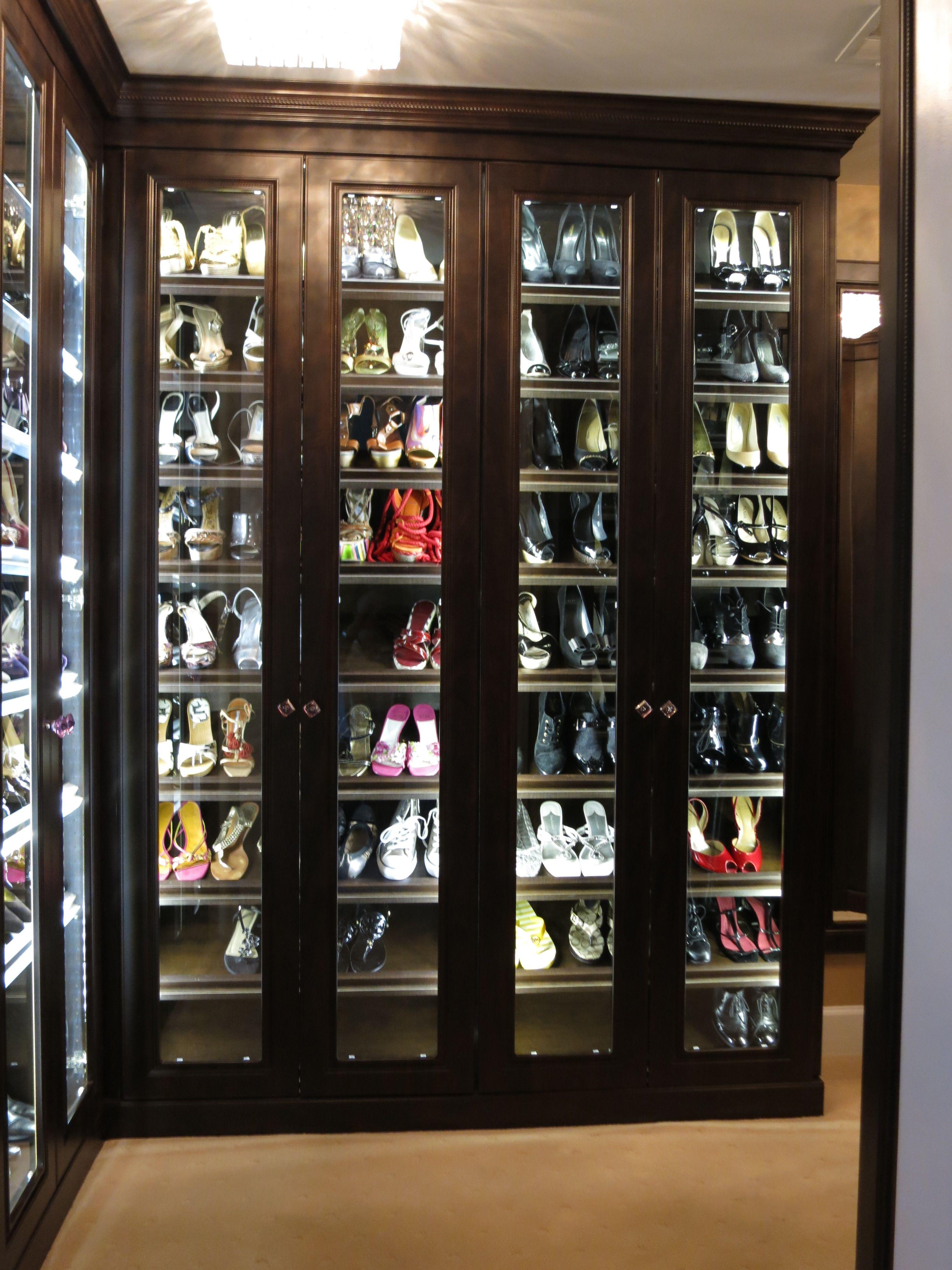 Custom shoe closet with led lighting custom closet for for Walk in wardrobe kits