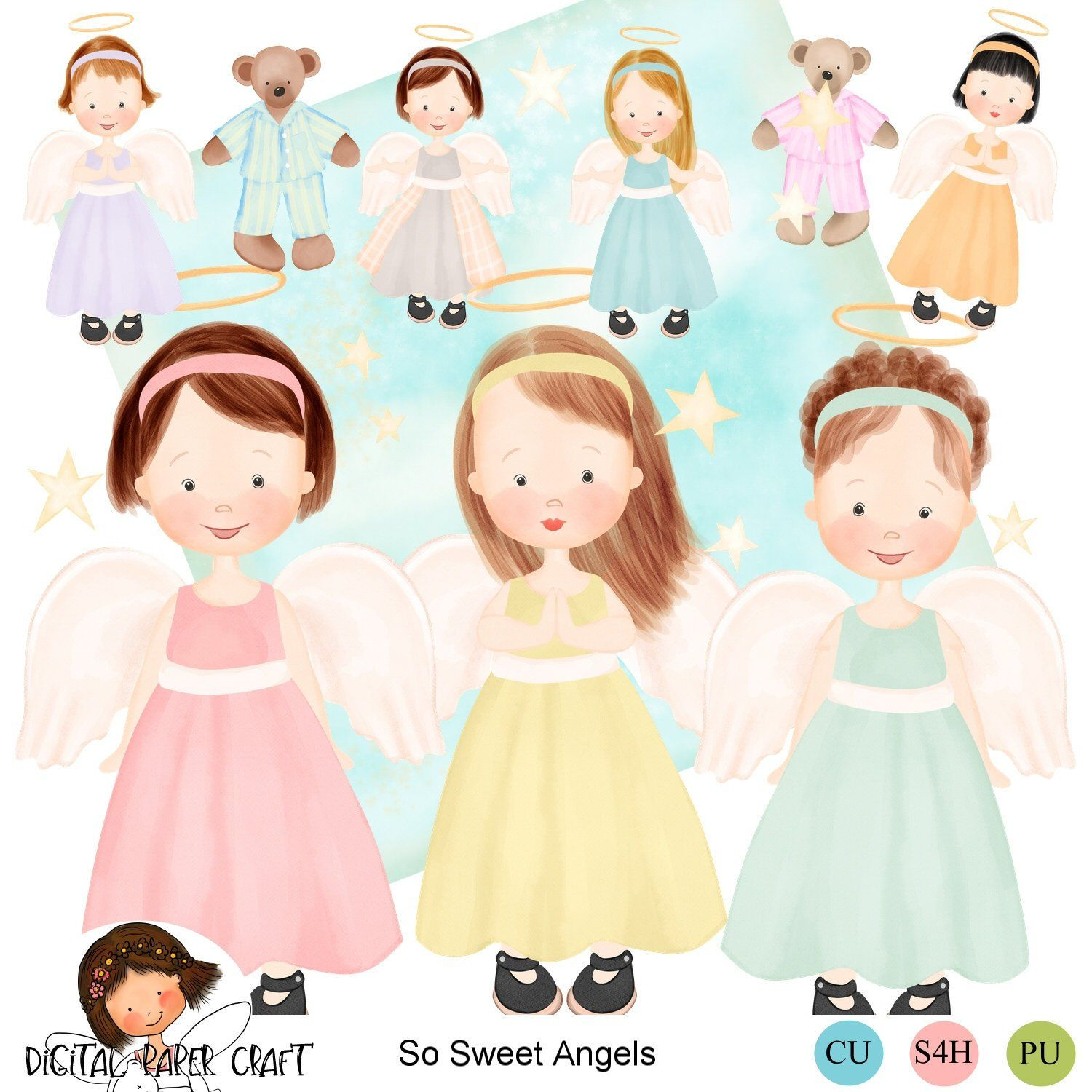 angel clipart watercolor angel christian clipart girl clipart hand painted original [ 1500 x 1500 Pixel ]