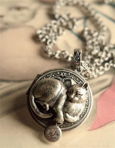 necklaces lockets best chbrav pinterest images cat locket necklace on jewelry