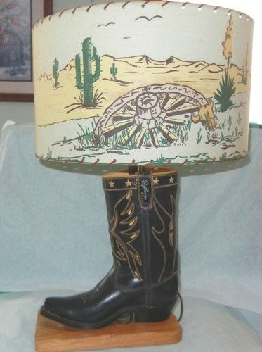 Rare 20 1 4 1950 S Roy Rogers Western Boot Lamp Fiberglass Shade Cool Cowboy Lamp Western Lamps Lamp