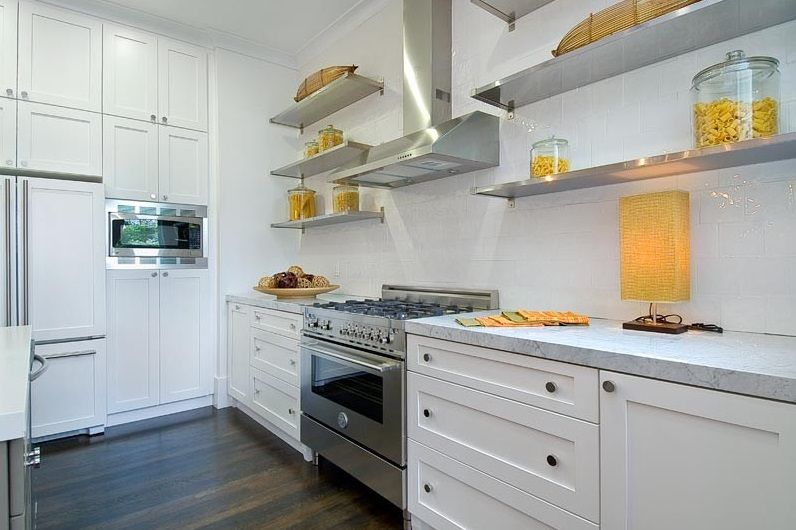 Beau Shades Of Yellow On Open Stainless Steel Kitchen Shelving   Decoist