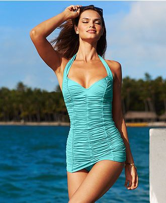 cbe1a7145c367 Baby blue shirred old Hollywood style one piece DKNY Swimsuit ...