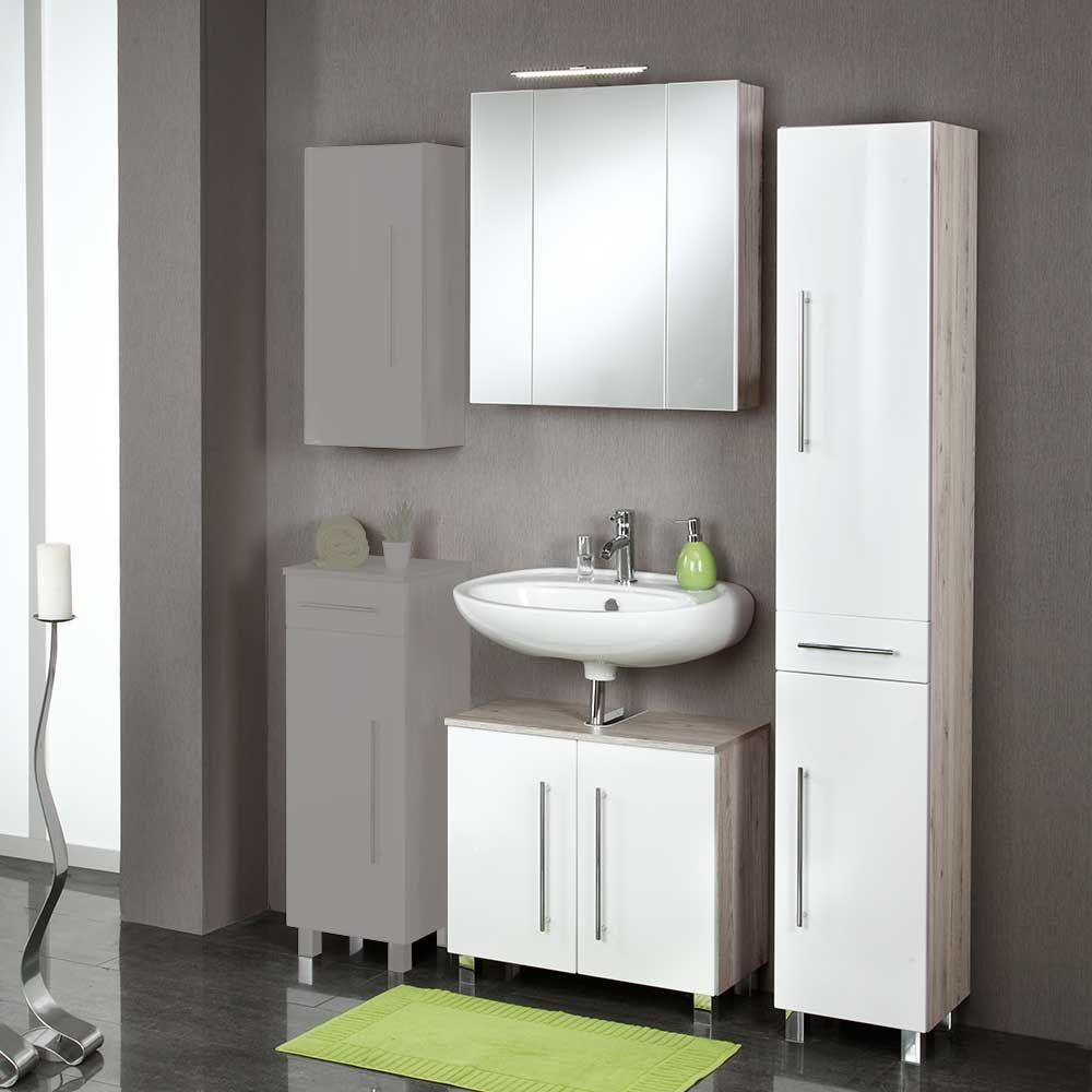 Badezimmermöbel weiß eiche  Badezimmermöbel Set in Hochglanz Weiß Eiche Grau (3-teilig) Jetzt ...