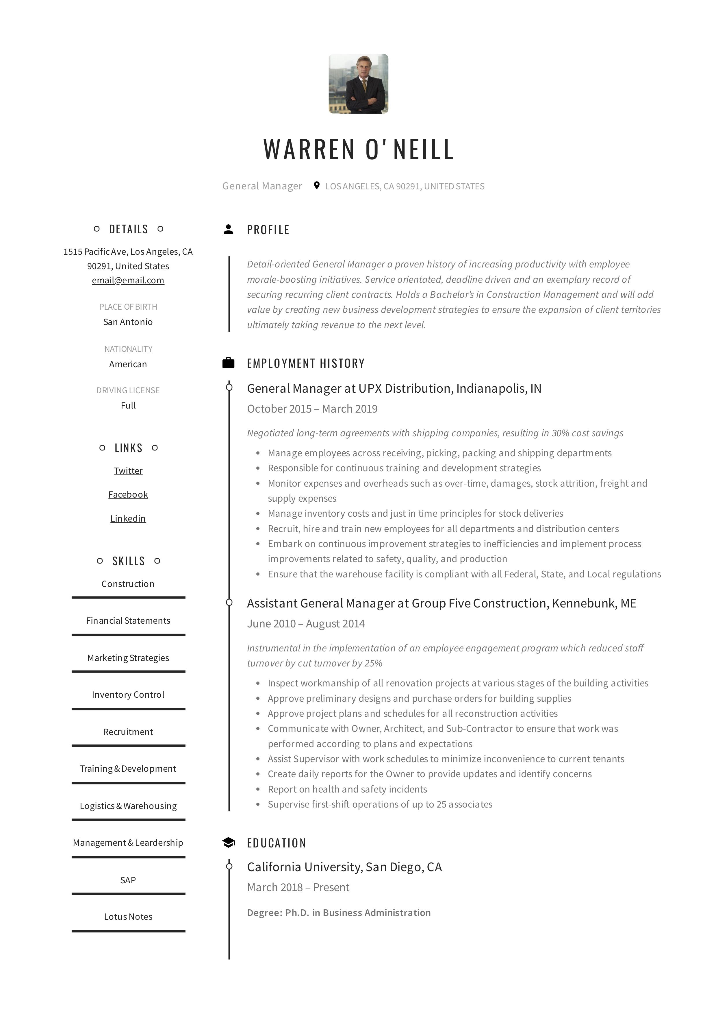 General manager resume example in 2020 manager resume