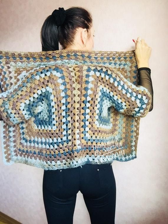 Granny square crochet jacket Alpaca DROPS Wool knit sweater Plus size spring festival Rainbow wrap gift-for-women oversized chunky sweater #grannysquareponcho