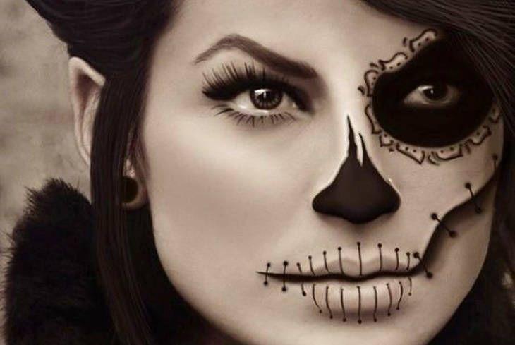 Fuente Pinterest Maquillaje de Halloween para mujer paso a paso