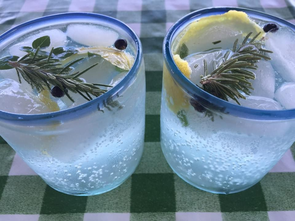 Nature pic! Home made Gin Mare with rosemary, basil, juniper berry and lemon..Cheers me dears!